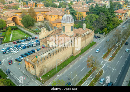 Aerial panorama view of Bologna the capital city of Emilia Romagna province in Italy home to the best food and two leaning towers on winter afternoon - Stock Photo