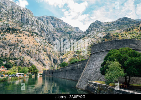 Old fortress of Kotor, Kampana Tower and wall in Kotor, Montenegro - Stock Photo