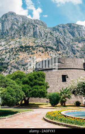 Old fortress and mountain in Kotor, Montenegro - Stock Photo
