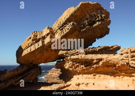 Pot Alley - scenic rock formations along the coastline, Kalbarri National Park, Western Australia - Stock Photo