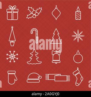 Christmas line icons set for web and holidays design - Stock Photo