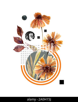 Abstract header background: watercolor fall flowers and leaves, minimal geometrical elements. Geometric shapes in modern style. Hand painted art illus - Stock Photo
