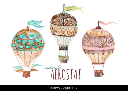 Aerostat vintage set. Watercolor hot air balloon set. Hand painted illustrations isolated on white background - Stock Photo
