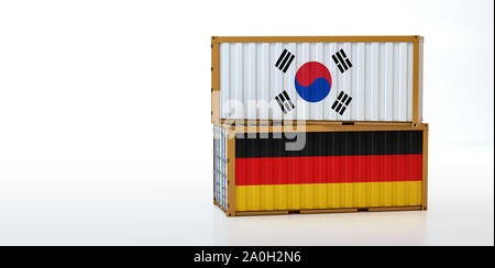 Two freight container with South Korea and Germany flag. Copy space on the left side - 3D Rendering - Stock Photo