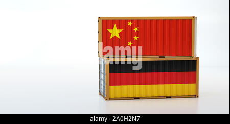 Two freight container with China and Germany flag. Copy space on the left side - 3D Rendering - Stock Photo