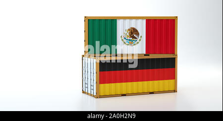 Two freight container with Mexico and Germany flag. Copy space on the left side - 3D Rendering - Stock Photo