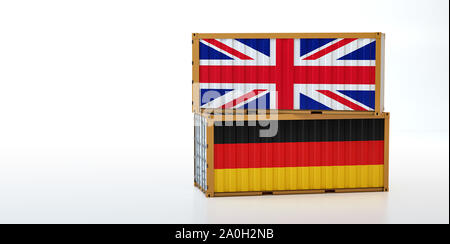 Two freight container with United Kingdom and Germany flag. Copy space on the left side - 3D Rendering - Stock Photo