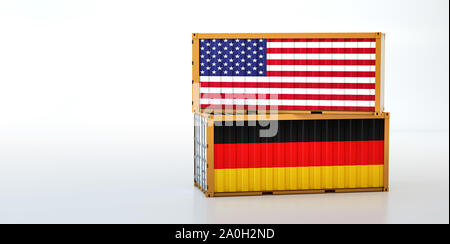 Two freight container with USA and Germany flag. Copy space on the left side - 3D Rendering - Stock Photo