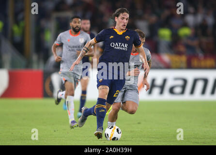Rome, Italy - September 19,2019: Nicolò Zaniolo (AS ROMA) in action during the UEFA EUROPA LEAGUE, group J, soccer match  AS Roma and Istanbul Basaksehir , at Olimpico Stadium in Rome. - Stock Photo