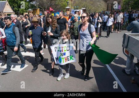 Sydney, Australia - September 20, 2019: Strike for climate change in Sydney. People demanding climate actions from the Australian government. - Stock Photo