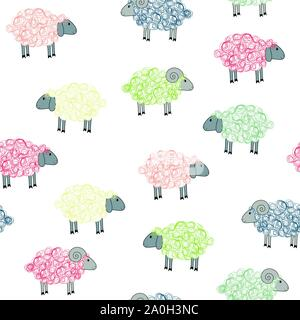 Seamless pattern with colored sheeps - Stock Photo