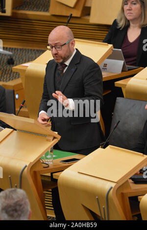 Edinburgh, UK. 19 September 2019. Pictured: (top) Alison Johnstone MSP - Co Leader of the Scottish Green Party; (centre) Patrick Harvie MSP - Co Leader of the Scottish Green Party. Weekly session of First Ministers Questions in the Scottish Parliament tries to steer a path through the fallout of the latest Brexit mess and prevent Scotland from leaving the EU. - Stock Photo