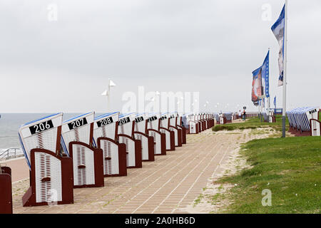 Norderney; Strandpromenade, Strandkoerbe, Meerblick - Stock Photo