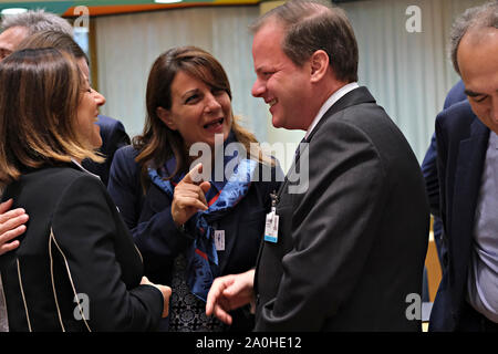 Brussels, Belgium. 20th September 2019.  Greek Minister of Infrastructure and Transport, Costas Karamanlis during an European Transport, Telecommunications and Energy (TTE) Council. Credit: ALEXANDROS MICHAILIDIS/Alamy Live News - Stock Photo