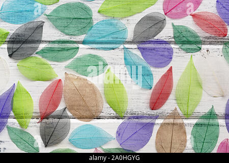 Beautiful natural art composition of colored transparent leaves, white wooden board table. Background from multi-colored skeleton foliage. Top view, f