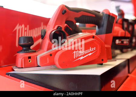 Vilnius, Lithuania - April 25: Milwaukee power tools on April 25, 2019 in Vilnius Lithuania. The Milwaukee Electric Tool Corporation produces power to - Stock Photo