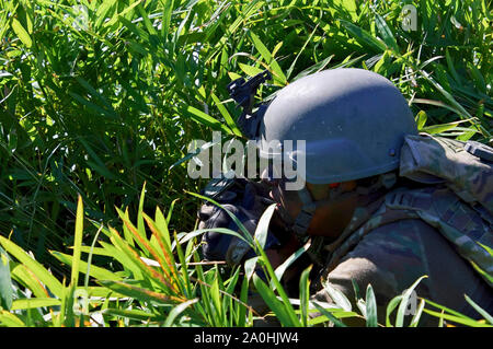 Yamato, Japan. 19th Sep, 2019. US Army soldier in the joint military training 'Orient Shield 2019' of the United States and Japan in the Oyanohara troop field. Yamato, 19.09.2019 | usage worldwide Credit: dpa/Alamy Live News - Stock Photo