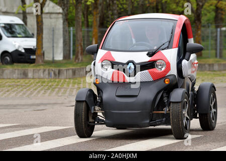 Vilnius, Lithuania - May 10: Renault Twizy electric car on May 10, 2019 in Vilnius, Lithuania. - Stock Photo