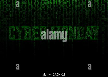 Cyber monday text on a green binary matrix background - Stock Photo
