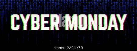 Binary banner for a cyber monday sale clearance. - Stock Photo