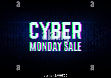 Cyber monday clearance sale concept with a binary background - Stock Photo