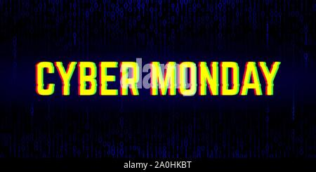 Cyber monday sale banner with anaglyph effect - Stock Photo