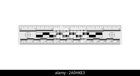 Forensic ruler for measuring crime evidence and gathering a clues - Stock Photo