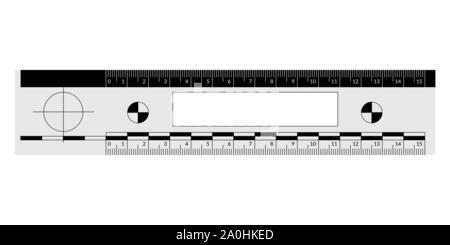 Forensic ruler for the measuring of a crime scene evidence - Stock Photo