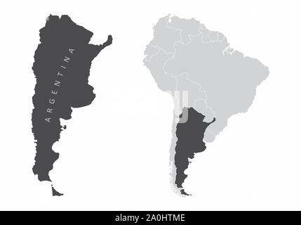 The Argentina map and its location in South America - Stock Photo
