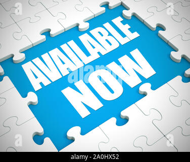 Available now instant concept icon shows reachable 24/7 online availability. Attainable or on hand for access or use - 3d illustration - Stock Photo