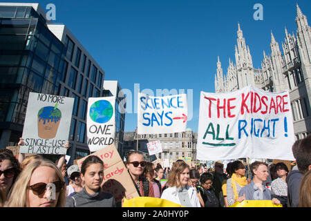 Aberdeen, UK. 20th Sept 2019 Hundred of people join the climate strike outside Marischal Collage.  Credit Paul Glendell /Alamy Live News - Stock Photo