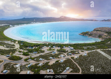 Aerial view of Lucky Bay in Cape Le Grand National Park near Esperance at Western Australia, Australia. Australian tourism, landscape, or nature trave - Stock Photo