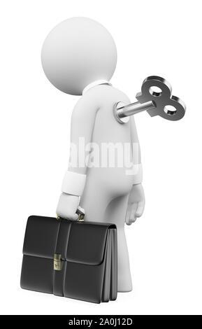 3d white people illustration. Man winding up key in back. Isolated white background. - Stock Photo