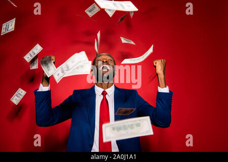 Emotion reaction concept. Crazy man in stylish trendy style form - Stock Photo