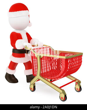 3d white people illustration. Santa Claus pushing a shopping cart empty. Isolated white background. - Stock Photo