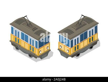 Isometric tram metro urban - Stock Photo