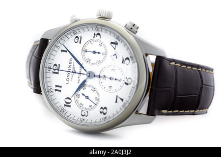 Saint-Imier, Switzerland September 15 2019 - Longines L27594785 Men's Master Collection Automatic Date Chronograph Alligator Leather Strap Watch on - Stock Photo