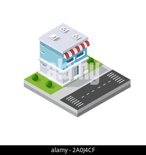 Isometric 3D module block - Stock Photo