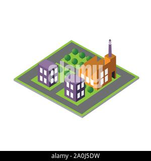 Isometric 3D module block - Stock Photo