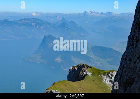 Switzerland: Panoramic view from Pilatus Peak to rigi Kulm and over the swiss alps - Stock Photo
