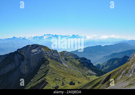 Switzerland: Panoramic view from Pilatus Peak over the swiss alps to the Bernese Oberland with Eiger, Mönch and Jungfrau - Stock Photo