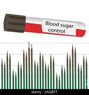 Blood sugar control glucose testing and analyzing in laboratory vector illustration - Stock Photo