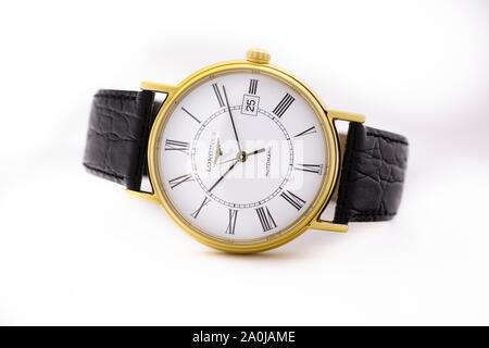 Saint-Imier, Switzerland September 15 2019 - Longines La Grande Classic mechamic watch mechanism Automatic White Dial Men's Watch swiss made luxury - Stock Photo