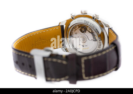 Saint-Imier, Switzerland September 15 2019 - Longines Men's Master Collection Automatic Date Chronograph Alligator Leather Strap Watch, Brown/White - Stock Photo