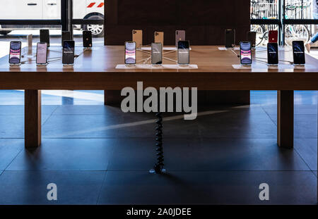 Paris, France - Sep 20, 2019: Range of the new iPhone 11, 11 Pro and Pro Max are displayed in Apple Store as the smartphone by Apple Computers goes on sale - Stock Photo
