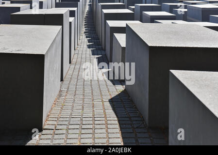 Holocaust Memorial or Memorial to the Murdered Jews of Europe in Berlin, Germany - Stock Photo