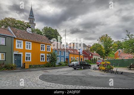 TRONDHEIM, NORWAY - SEPTEMBER 07, 2019: Bakklandet is an old town neighborhood in the city of Trondheim. - Stock Photo