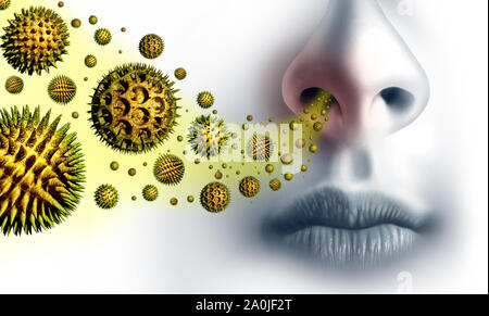 Pollen allergies symptoms and seasonal allergy or hay fever allergy and medical concept as a group of microscopic organic pollination particles.