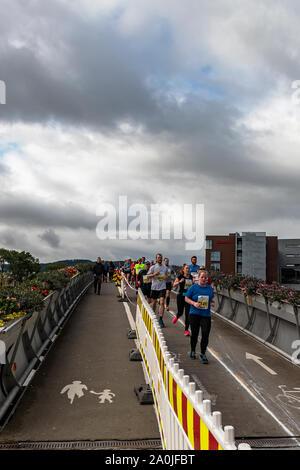 TRONDHEIM, NORWAY - SEPTEMBER 07, 2019: Runners competing in the 2019 Trondheim marathon. - Stock Photo