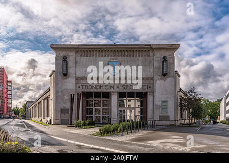 TRONDHEIM, NORWAY - SEPTEMBER 07, 2019: The front facade of what used to be the old tram museum or depot. - Stock Photo